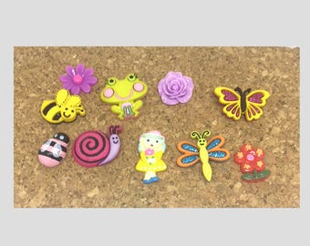 Enchanted Garden Push Pins or Magnets Butterfly, Flowers, Snail, Child, Bee