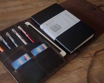 "10.5"" iPad Pro 2 Sleeve Leather Portfolio, iPad Air Case, iPad 2 Covers, Hand Stitched Travel Folio, Passport, Notebook Cover, Dark Coffee"
