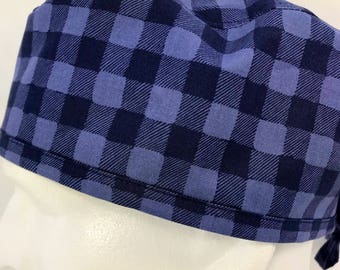 "Blue Buffalo Plaid Mens Fitted surgical cap surgeon's hat Fitted scrub caps hats for Men OR surgery hat skull cap 23"" LoveNstitchies Navy"