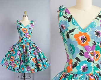 1980s Floral Sundress/ XS (34B/24W)