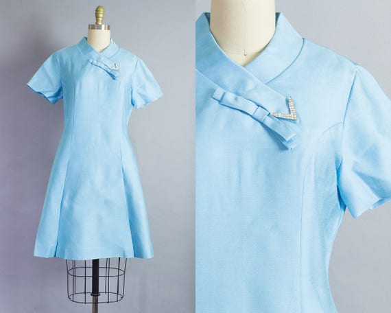 1960s Blue Shift Dress   S/M (36B/31W/36H)