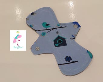 "Bird house Jersey 9"" Regular CSP Cloth pad - reusable sanitary towel (2.5"" snapped) new shape"