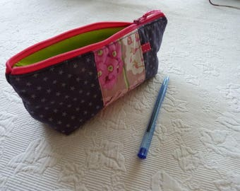 Pencil case in grey and pink floral fabric