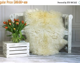 ON SALE Creamy White Giant XXXL Sheepskin Rug, Sheepskin Throw, Cosy <3