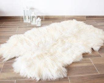 Creamy White Sheepskin Rug, Quatro Sheepskin, Ivory Sheepskin Throw, Sheepskin fur rug, Large Sheepskin rug