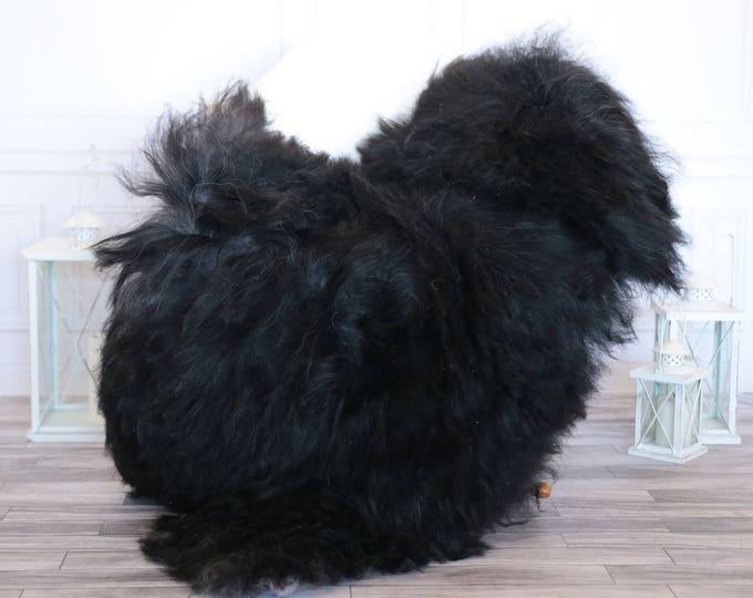 Icelandic Sheepskin   Real Sheepskin Rug   Black Sheepskin Rug   Fur Rug   Christmas Decorations #ISLA15