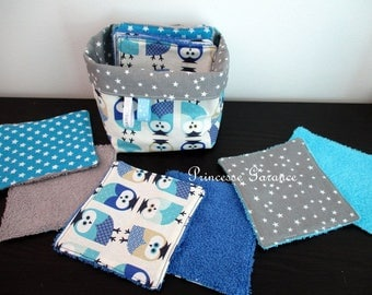 12 large wipes cotton owls and gray stars and matching square basket - baby or MOM