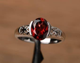 natural garnet ring wedding promise ring  oval cut gemstone sterling silver ring bezel setting red January birthstone gemstone ring