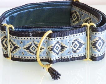 BLACK DIAMOND  - 5cm Black Blue and Gold Martingale Dog Collar with Black Tassel for Large Sight Hound