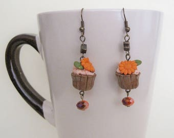 Orange Chocolate cupcake earrings, Cupcake Jewelry, Foodie Gift, Miniature Food, Food Jewelry, polymer clay earrings, Antique gold earrings