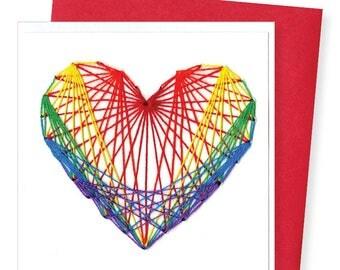 STRING HEART / rainbow heart on white