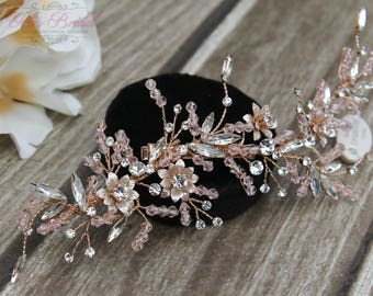 FAST SHIPPING!!! Rose Gold Bridal Hair Comb, Wedding Hair Comb, Crystal Hair Comb, Swarovski Hair Comb, Headpiece, Sweet 16 Hair Comb