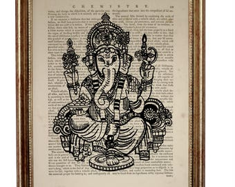 Patrick's Day Decor, Ganesha Statue Dictionary Art Print, Ganesha Wall Art, Ganesh Wall Decor Hanging, Artwork Book Page illustration Gift