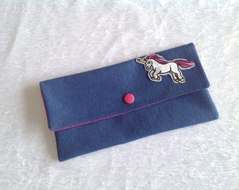 Unicorn blue jeans and lining pouch pink