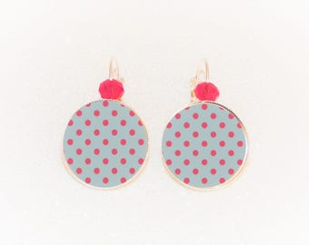 Earrings sleepers silver gray cabochon with red coral polka dots