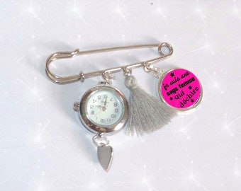Brooch watch with nurse with wise woman who rocks pink/grey tassel