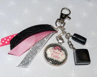 Jewelry bag/key Super Grandma/mother/godmother/Auntie shades pink, black and silver