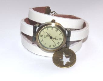 White Leather watch wrap around adjustable bronze dial with star