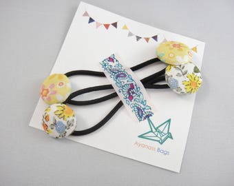 Floral ponytail holders, Set of 2, Yellow flowers
