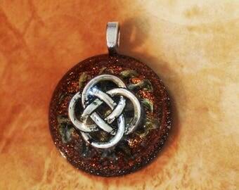 Orgone Energy Sacred Celtic Knot Orange and Gold Dome Chakra-Tuning 30mm Unisex Pendant Necklace harmonized crystals Moldavite Quartz & more