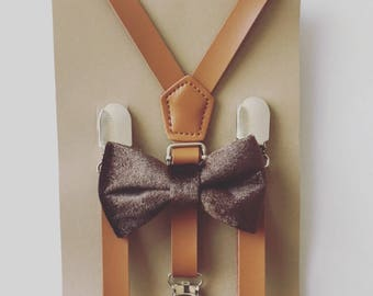 Brown Velvet Bow tie/Suspender set Kids Caramel Suspenders Tan Suspender Bow Tie  Rustic Wedding Suspenders Little Boys Leather Suspenders