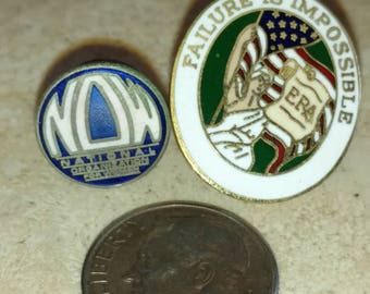 National Organization for Women and ERA pins.