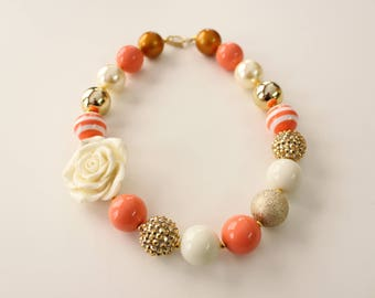 Peach, Gold and Ivory Chunky Gumball Necklace with Ivory Rosette Pendant 4079