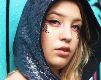 sequin hood, burning man hood, rave hood, spirit hood, rave clothes, festival clothes, rave clothing womens, womens pixie hood,
