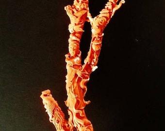 "Taiwan 1970s natural coral branch fine carved Kwan-yin buddha w. glass cage 17.5""h"
