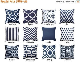 SALE Navy Zippered Pillow Covers - Navy and White Throw Pillow Covers - Geometric Navy Blue Decorative Pillows - Navy Blue Pillow Cushion