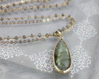 Labradorite Pendant Long Necklace with Double Strand