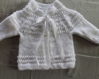sweater, vest, white, hand-knitted christening or ceremony