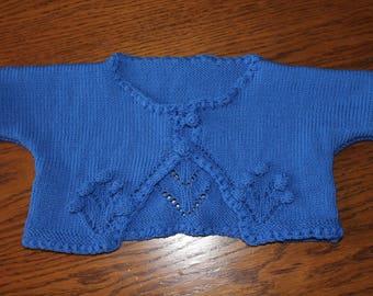 knit vest, short, blue, hand knitted