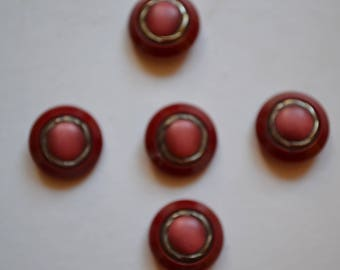 set of 5 buttons round fantasy resin