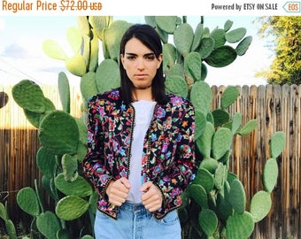 40% Moving SALE 1980's Black Floral Silk Blazer with Gold Piping and Celebration Colors