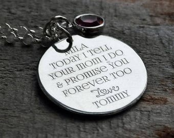 Step Father to Step Daughter Wedding Gift Personalized Engraved Necklace