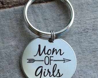 Mom of Girls Personalized Key Chain - Engraved