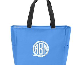 Anchor Rope Embroidered Monogrammed Zip Tote