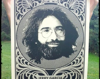 Jerry Garcia poster screen print Grateful Dead bluegrass folk Jerry Garcia