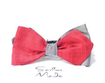 Men's Bow Tie Silk, Silk Bow Tie, Red Bow Tie, Gray Bow Tie, Wedding Bow Tie, Diamond Bow Tie, Tuxedo Bow Tie, Handmade Bow Tie