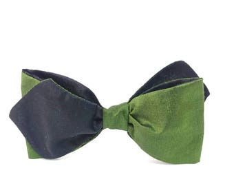Men's Bow Tie Silk, Forest Green Bowtie, Diamond Bowtie, One of a Kind Gift for Him, Pointed Bowtie, Green n Black Bow Tie, St Patricks Day