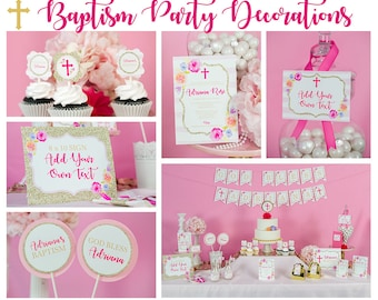 Baptism party etsy baptism decorations in pink gold and floral instant download girls baptism party pink baptism sciox Image collections