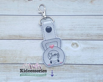 Kettle Bell Weight Snap Tab Keychain - Unicorn Key Fob - Fitness Keychain -Weight Zipper Pull - Fitness Backpack Charm