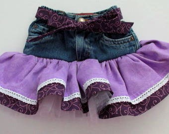 12M baby jean tutu skirt. Purple ruffled skirt/recycled denim clothing/baby girl clothing/baby boho/country baby clothes/western baby wear