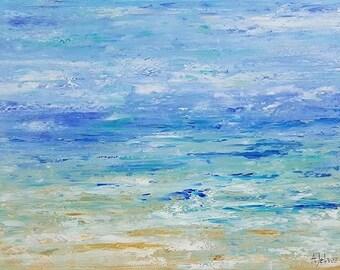 """Beach art Beach artwork Abstract beach painting Abstract seascape oil painting Original oil painting Seascape painting Beach vacation 18x24"""""""
