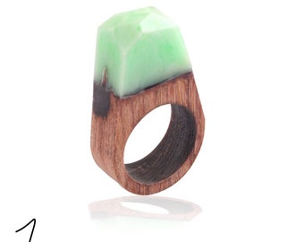 Wood and resin ring,gift for her/him,wood ring,resin ring,wood resin,nothern light