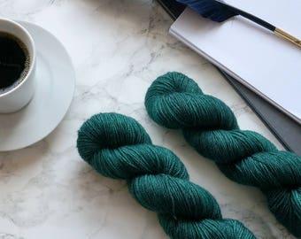 hand dyed yarn, cashmere merino hand dyed dk yarn, handgefärbte wolle, handmade gift, gift for wife, DYE TO ORDER  - Caspian Sea