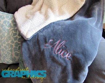 """Monogrammed Sherpa Blanket - 60"""" x 70"""" Personalized Throw blanket - Embroidered fur throw - Wedding gift - Housewarming Gift"""