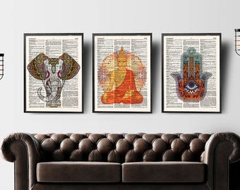 Buddha Wall Art, Set Of 3 Prints, Yoga Wall Art, Hamsa Hand,