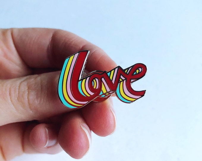 Rainbow LOVE hand drawn typographic hard enamel pin in silver